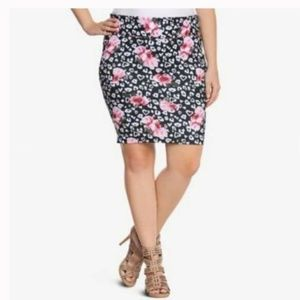 Torrid Rose and Heart Pencil Skirt Size 0X
